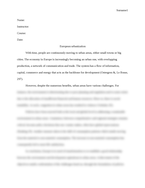 Essay on European urbanization - Page 1