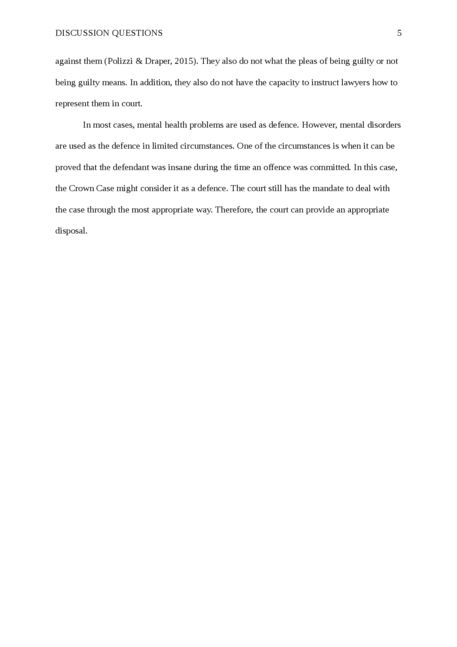 """Discussion Questions based on """"Forensic Psychology Reconsidered"""" - Page 5"""