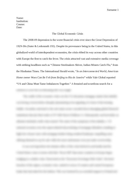 The Global Economic Crisis - Page 1
