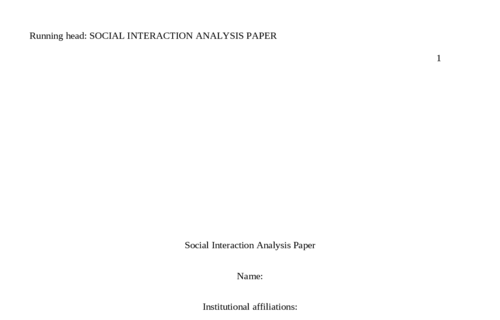 Social Interaction Analysis Paper