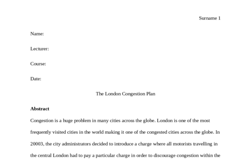 The London Congestion Plan