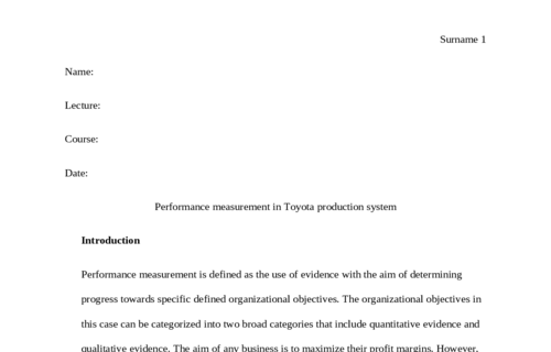 Perfomance measurment in toyota production system