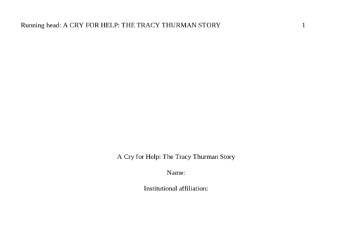 A Cry for Help: The Tracy Thurman Story