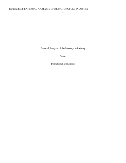 External Analysis of the Motorcycle Industry
