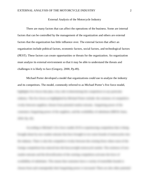 External Analysis of the Motorcycle Industry - Page 2