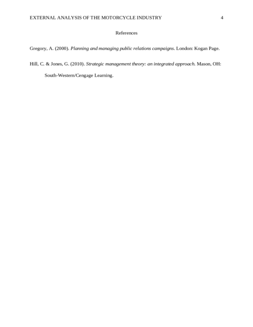 External Analysis of the Motorcycle Industry - Page 4