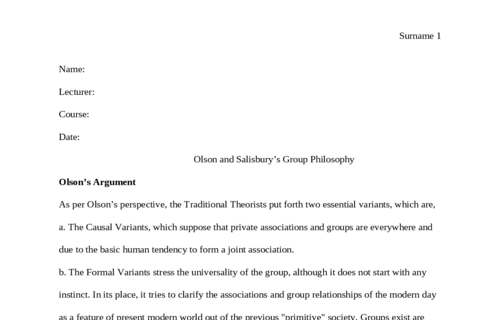 Olson and Salisbury's Group Philosophy