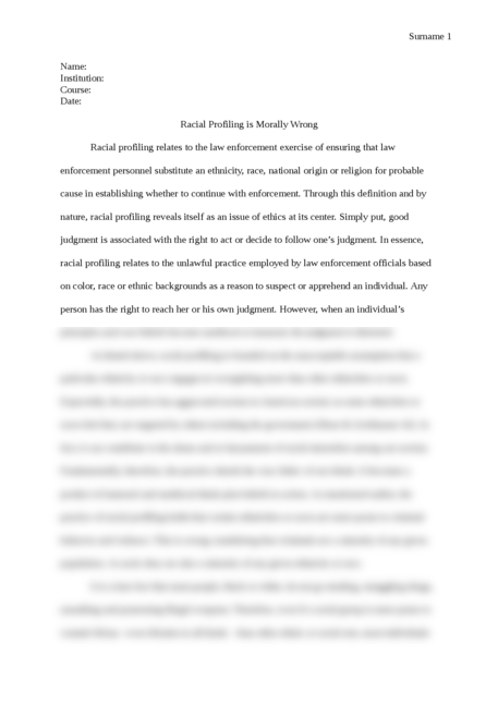 Racial Profiling is Morally Wrong - Page 1