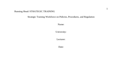 Strategic Training of Healthcare Workforce on Policies, Procedures, and Regulation