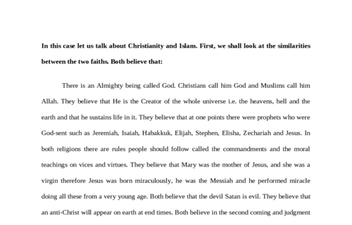 Similiarities between Christianity and Islam philosophies