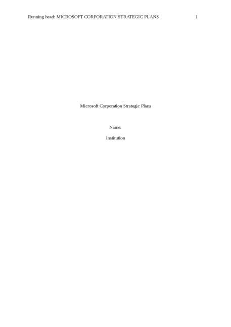 Microsoft Corporation Strategic Plans - Page 1