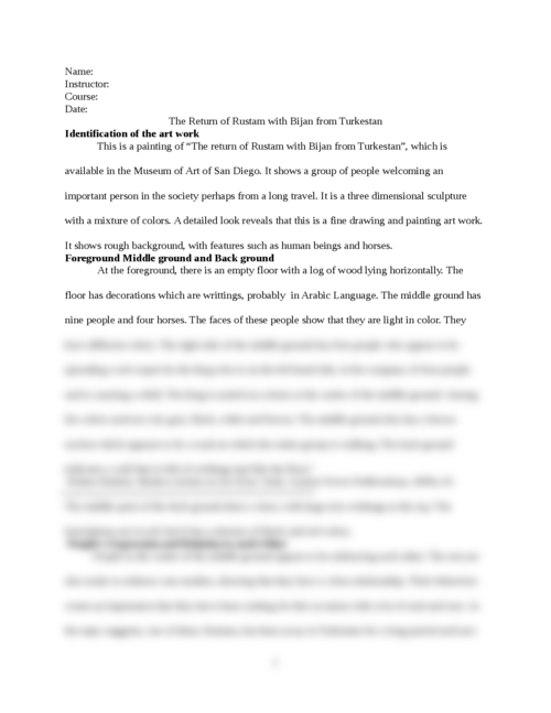 The Return of Rustam with Bijan from Turkestan - Page 1