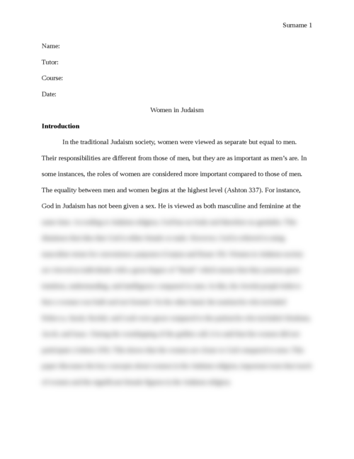 "Research paper on  ""Women in Judaism"" - Page 1"