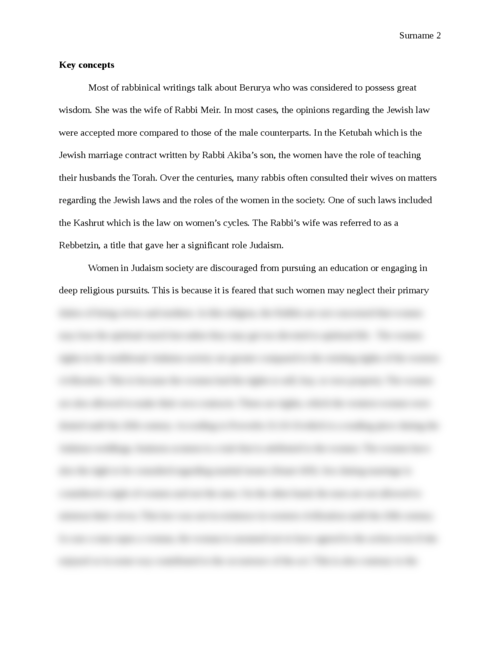 "Research paper on  ""Women in Judaism"" - Page 2"