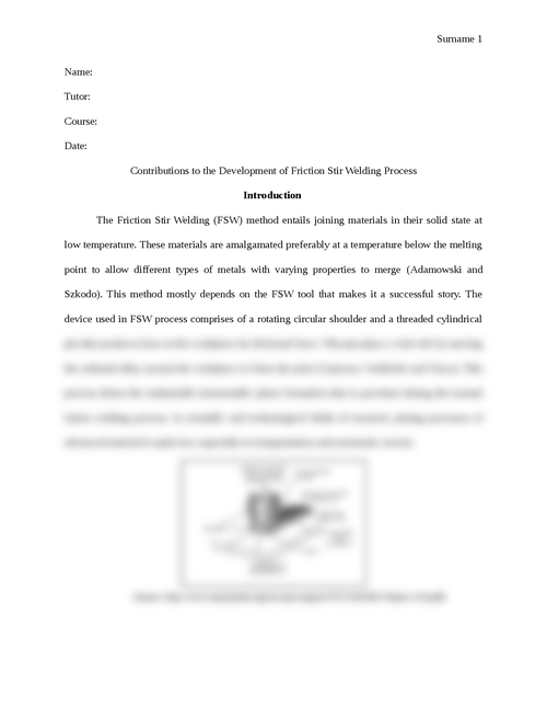 Contributions to the Development of Friction Stir Welding Process - Page 1