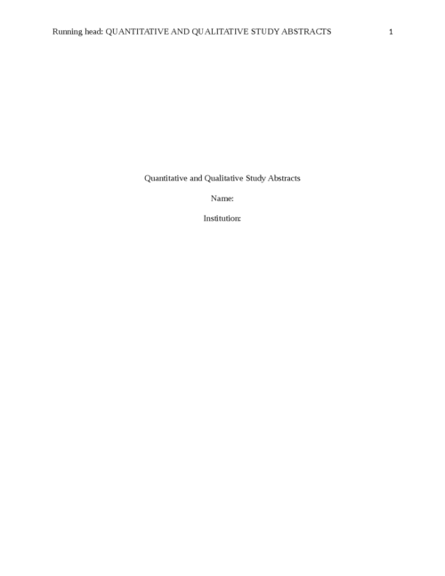 Quantitative and Qualitative Study Abstracts - Page 1