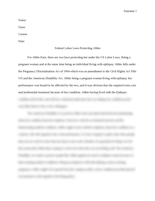 Federal Labor Laws Protecting Abbie - Page 1