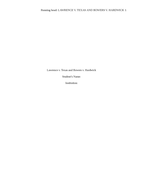 Lawrence v. Texas and Bowers v. Hardwick - Page 1