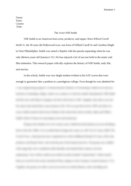The Actor Will Smith - Page 1