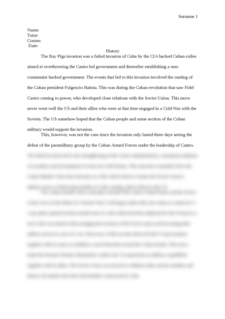 Cuban Missile Crisis and the Bay of Pigs invasion - Page 1