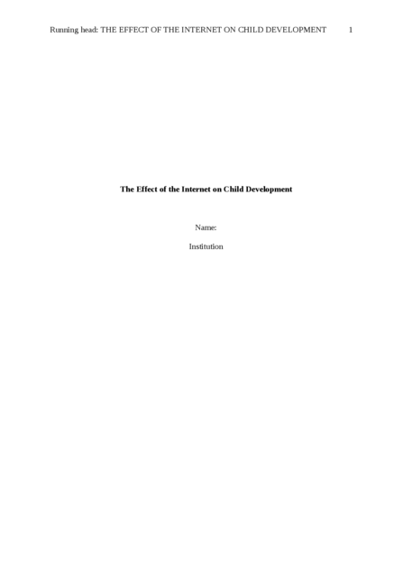 The effect of the internet on child development - Page 1