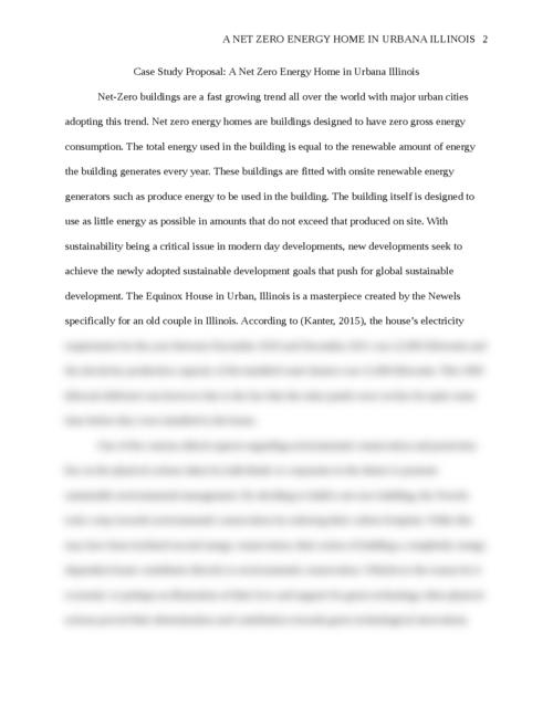 Case Study Proposal: A Net Zero Energy Home in Urbana Illinois - Page 2