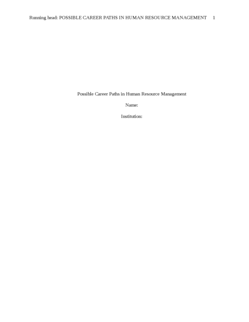 Possible Career Paths in Human Resource Management - Page 1