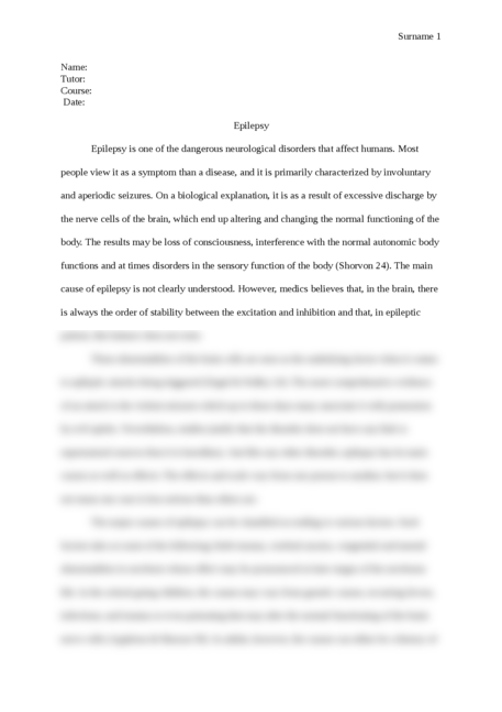 Research paper on Epilepsy - Page 1