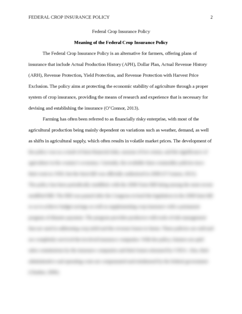 Essay: Federal Crop Insurance Policy - Page 2