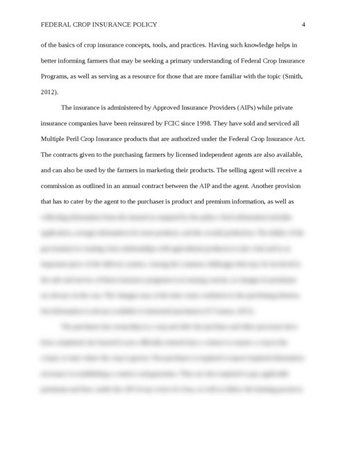 Essay: Federal Crop Insurance Policy - Page 4