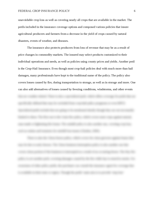 Essay: Federal Crop Insurance Policy - Page 6