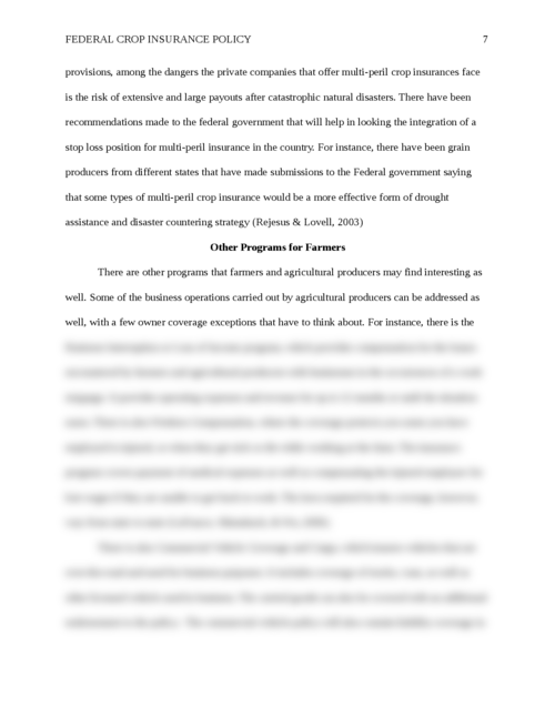 Essay: Federal Crop Insurance Policy - Page 7