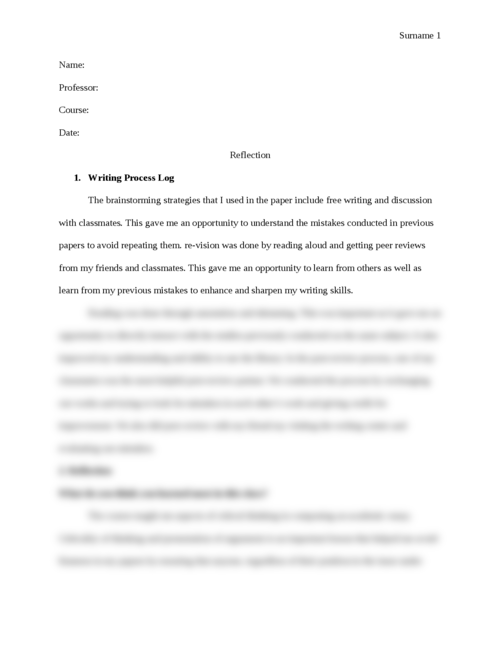 Reflection essay: Self Evaluation - Page 1