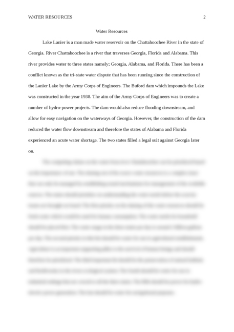 Essay on Water Resources         - Page 2