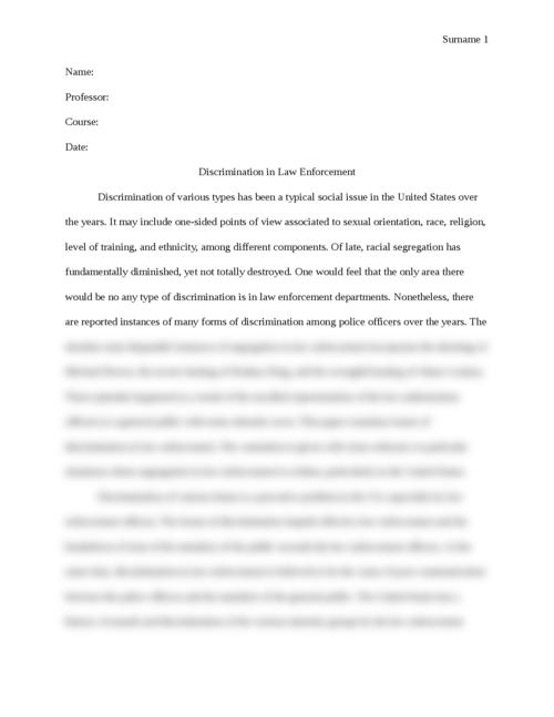 Discrimination in Law Enforcement - Page 1