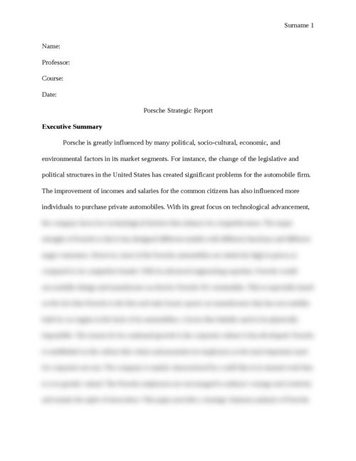 Porsche Strategic Report - Page 1