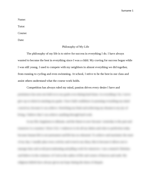 Philosophy of My Life - Page 1