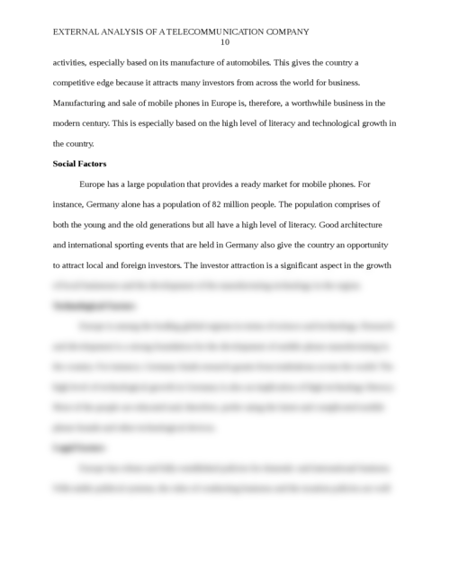 External analysis for a Telecommunication Company  - Page 10