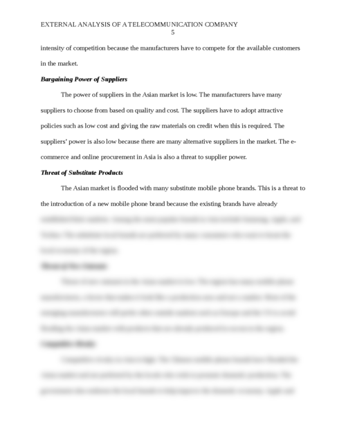 External analysis for a Telecommunication Company  - Page 5