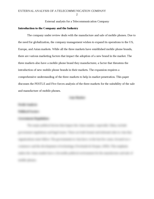 External analysis for a Telecommunication Company  - Page 2