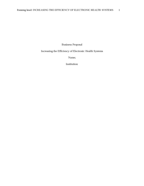 INCREASING THE EFFICIENCY OF ELECTRONIC HEALTH SYSTEMS - Page 1