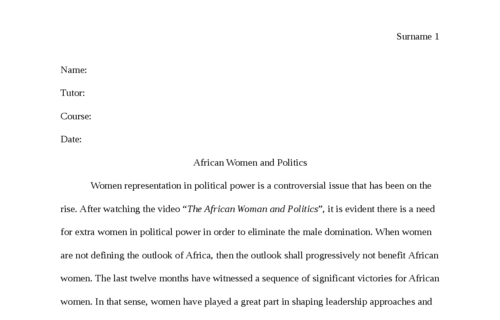 African Women and Politics
