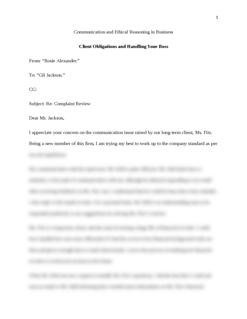 Communication and Ethical Reasoning in Business - Page 1