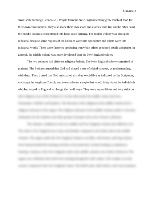 Comparing and Contrasting the New England Colony and the Middle Colony - Page 2