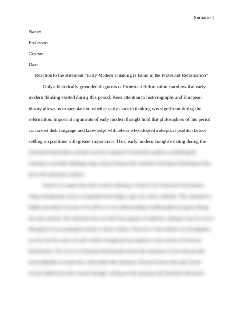 "Reaction: ""Early Modern Thinking is found in the Protestant Reformation"" - Page 1"