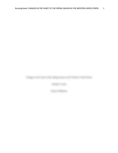 Changes in the Onset of the Spring season in the Western United States - Page 1