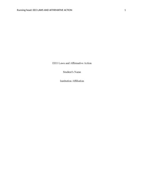 EEO Laws and Affirmative Action - Page 1