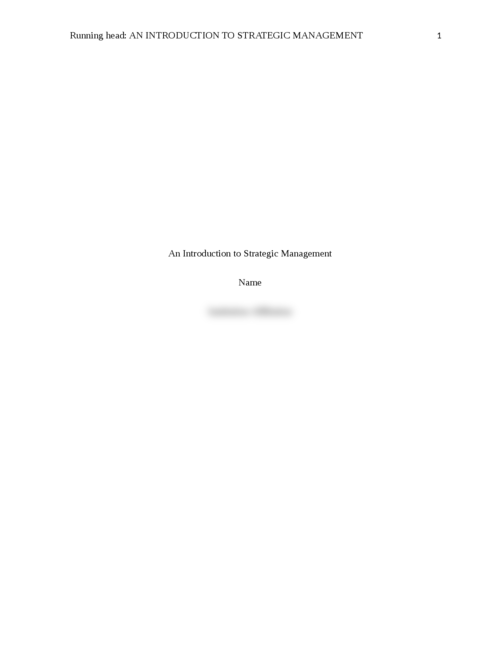 An Introduction to Strategic Management - Page 1