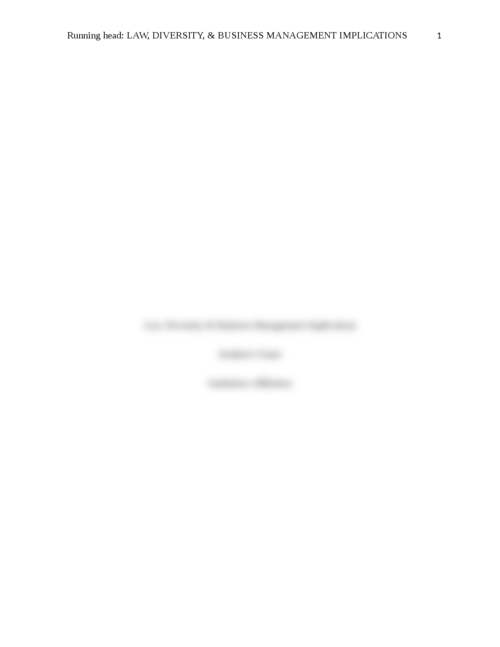 Law, Diversity, & Business Management Implications - Page 1