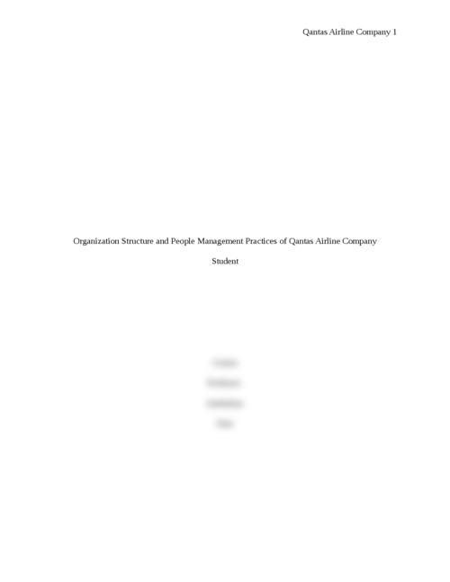 Organization Structure of Qantas Airline Company - Page 1